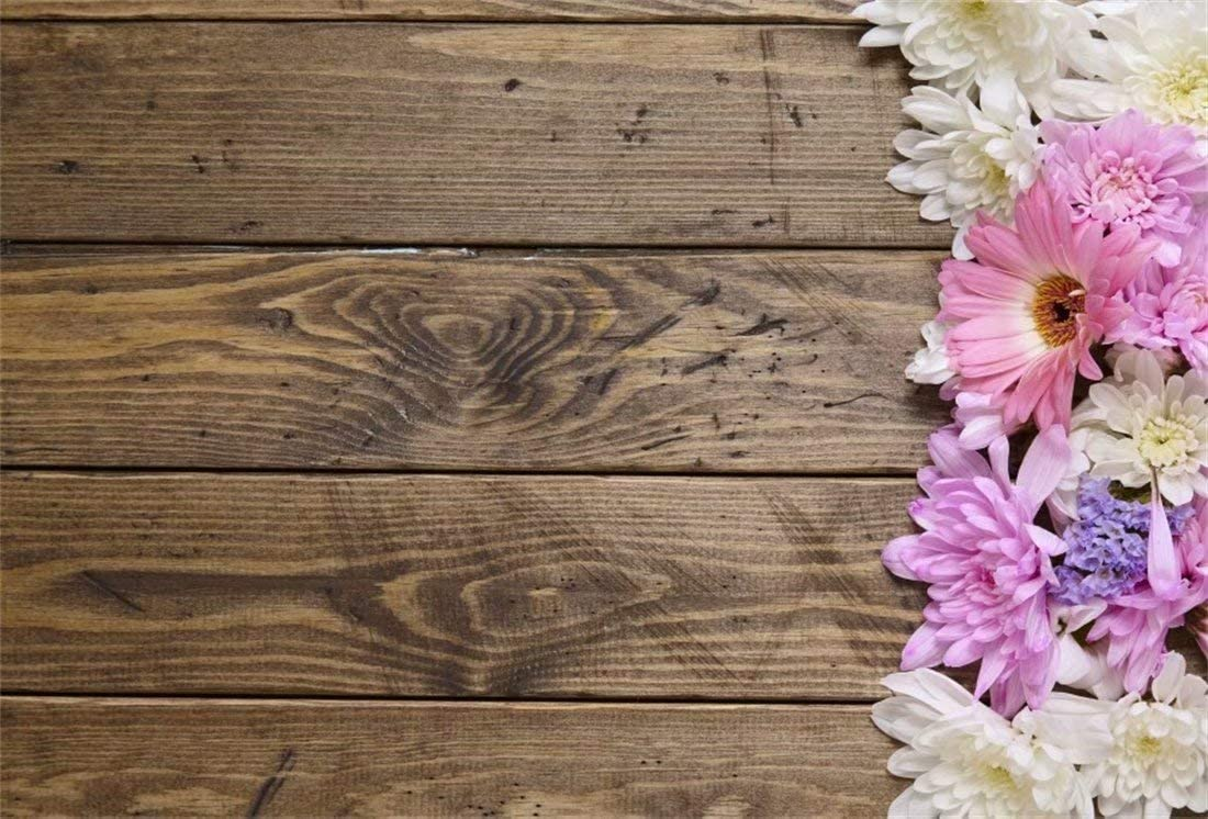 Amazon Com Ofila Rustic Plank Backdrop 10x6 5ft Wood Flowers