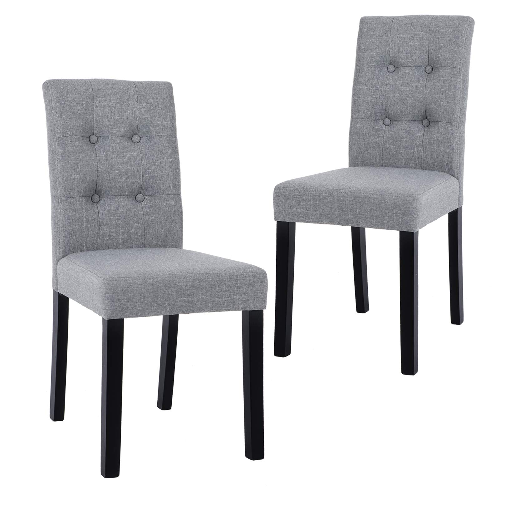 GOTMINSI Parsons Dining Chairs with Solid Natural Wood Legs Button-Tufted Chairs Set of 2(Gray)