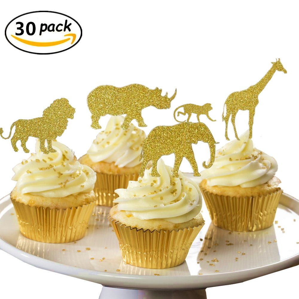 (30 pcs) JeVenis Gold Glitter Jungle Safari Animal Cupcake Toppers Picks Jungle Animals Cake Decorations for Jungle safari Animals Party Baby Showers Birthday Party