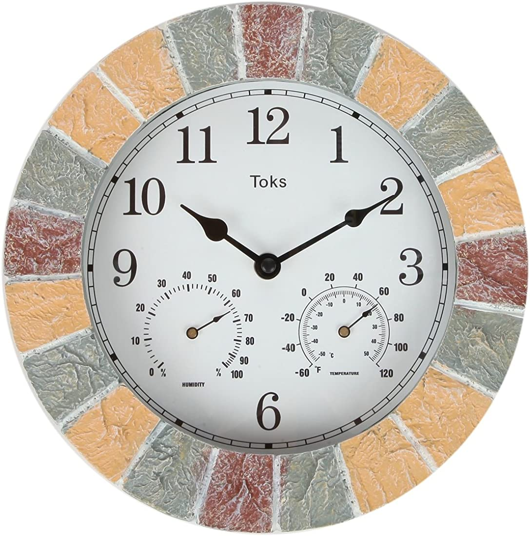 Lily's Home 10-Inch Faux-Stone Indoor or Outdoor Wall Clock with Thermometer and Hygrometer