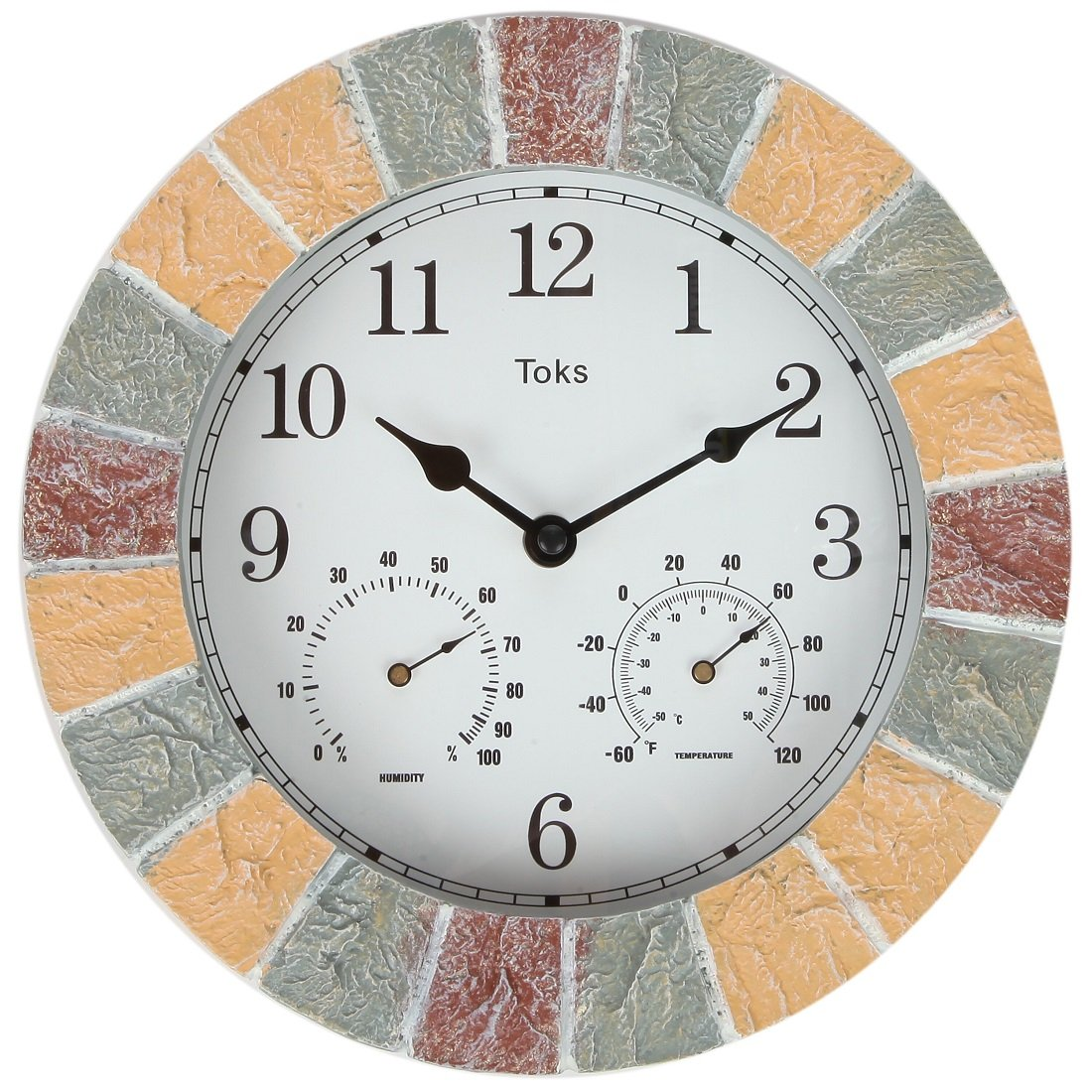 Lilys Home Hanging Wall Clock, Includes a Thermometer and Hygrometer and is Ideal for Indoor and Outdoor Use, Faux-Stone (10 Inches)