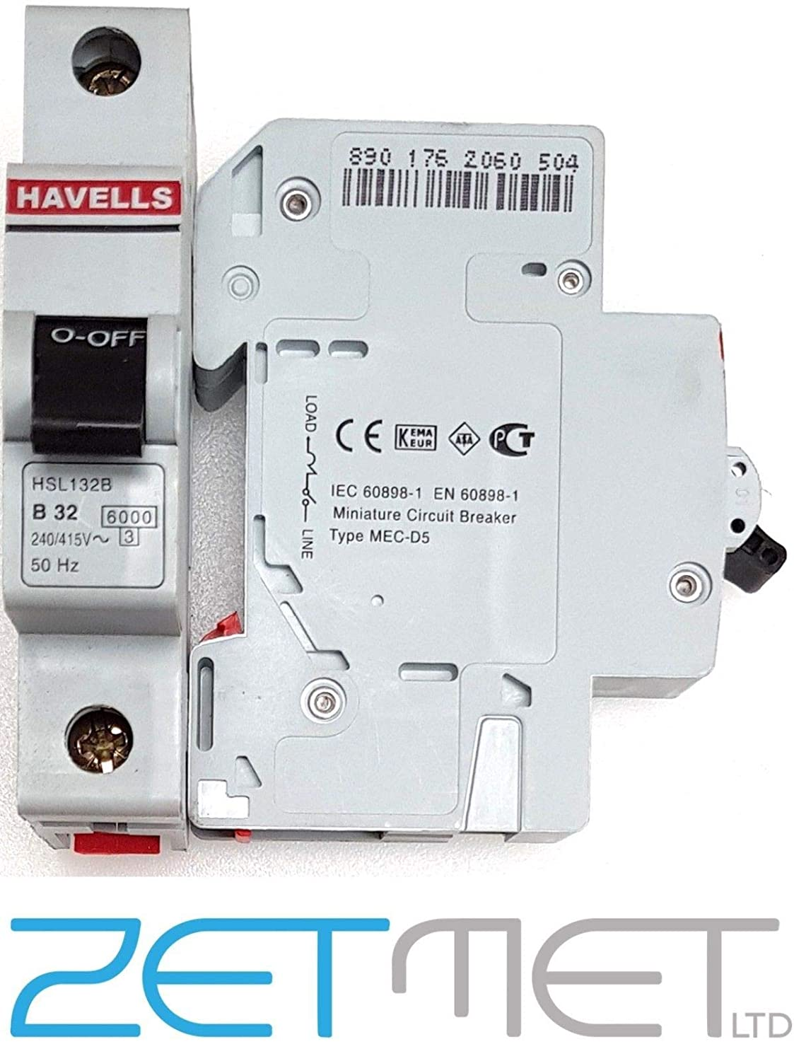 Havells HSL132B 32 Amp Type B Single Pole 6kA 240V Homesafe Circuit Breaker MCB