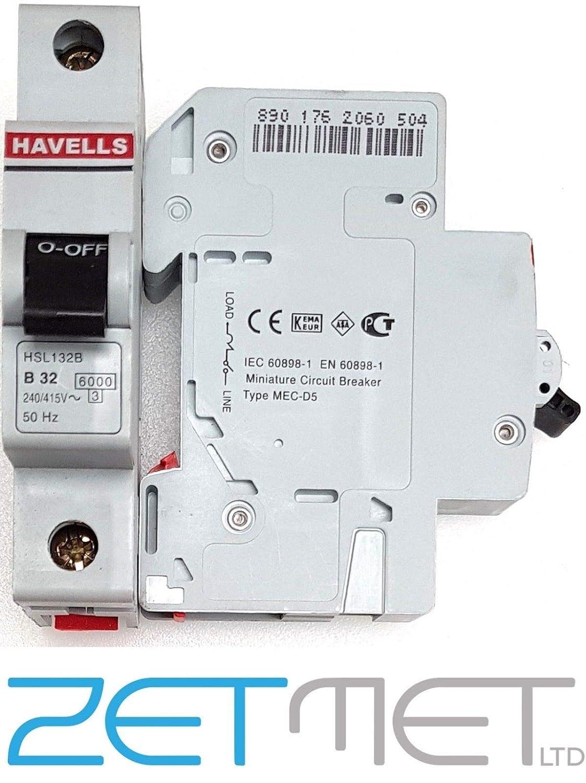 Havells HSL132B 32 Amp Type B Single Pole 6kA 240V Homesafe Circuit Breaker MCB