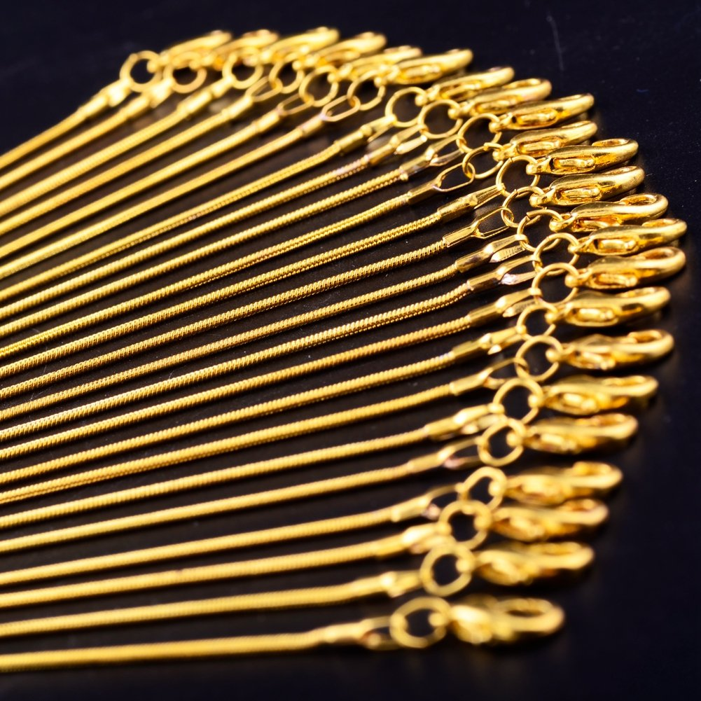 Gold Chain 18K Gold Plated Snake Chains for Necklace Jewelry Making 24pcs 1.2mm 20inch with Lobster Clasps Women DIY Bulk Link Supplies by Cmidy (Image #5)