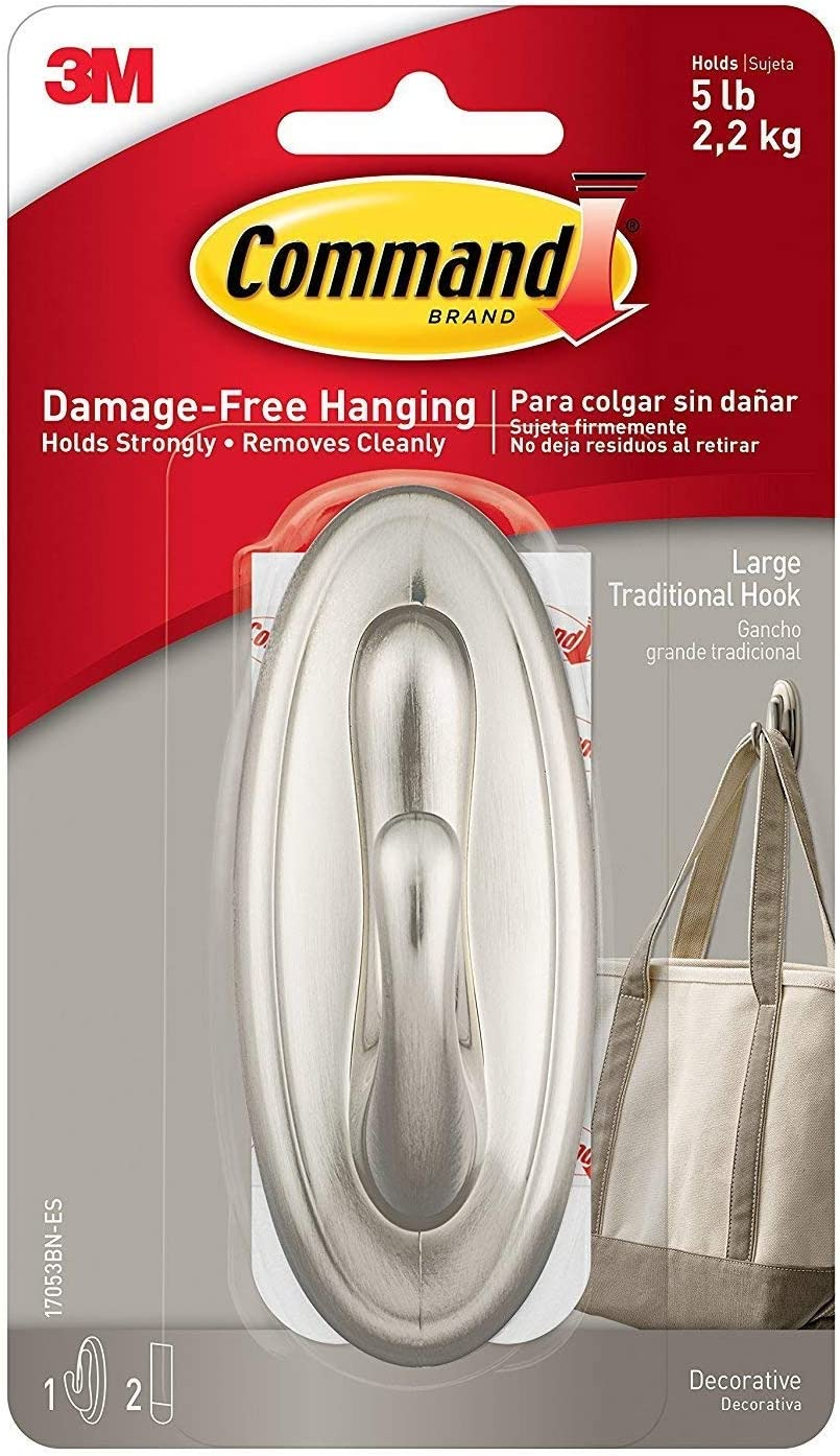 Command Traditional Large Plastic Hooks, Brushed Nickel, 4-Hook