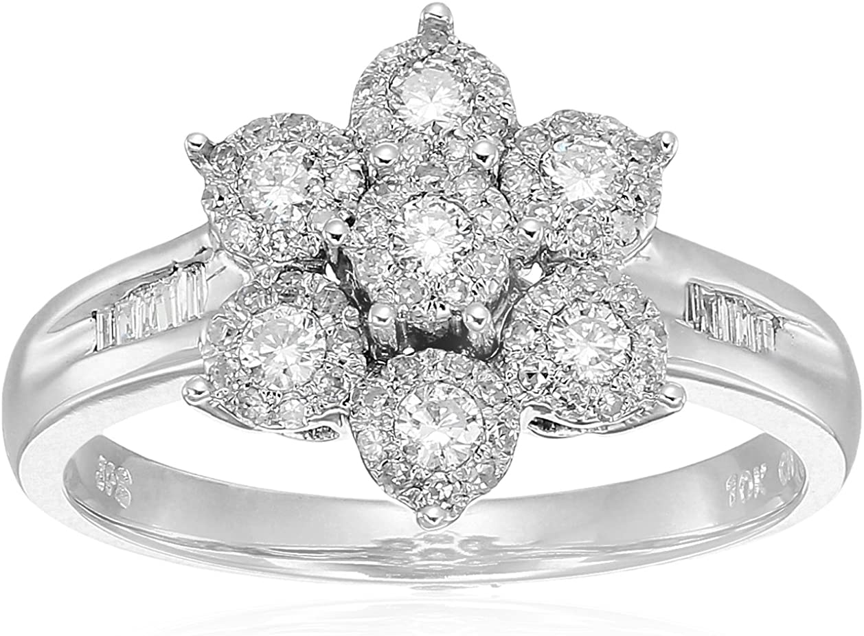 Princess Kylie Clear Cubic Zirconia X Shaped Split Shank Ring Rhodium Plated Sterling Silver