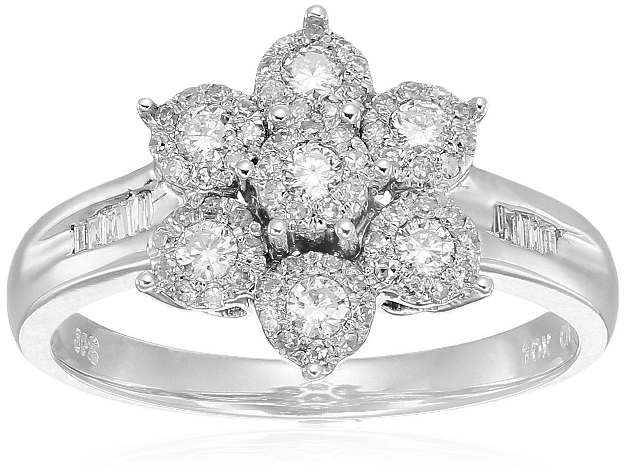10K White Gold Cluster Flower Diamond Ring (1/2 cttw, H-I Color, I2 Clarity), Size 7