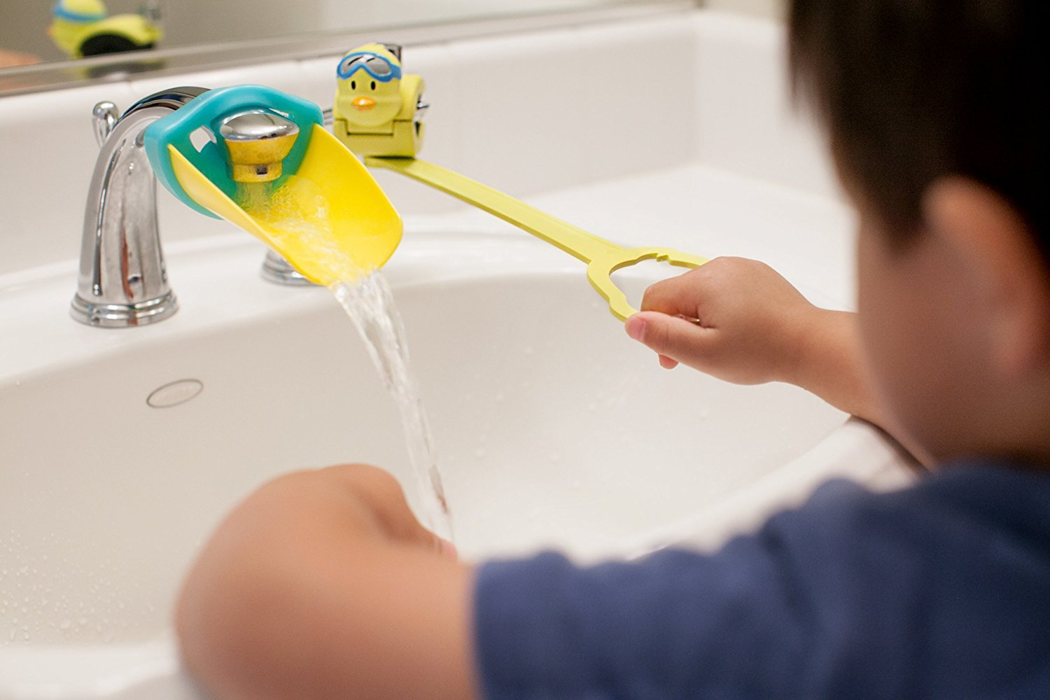 Aqueduck Faucet Handle Extender Set. Connects to Sink Handle and Faucet to Make Washing Hands Fun and Teaches Your Baby or Child Good Habits and Promote Independence to them. by Aqueduck (Image #2)
