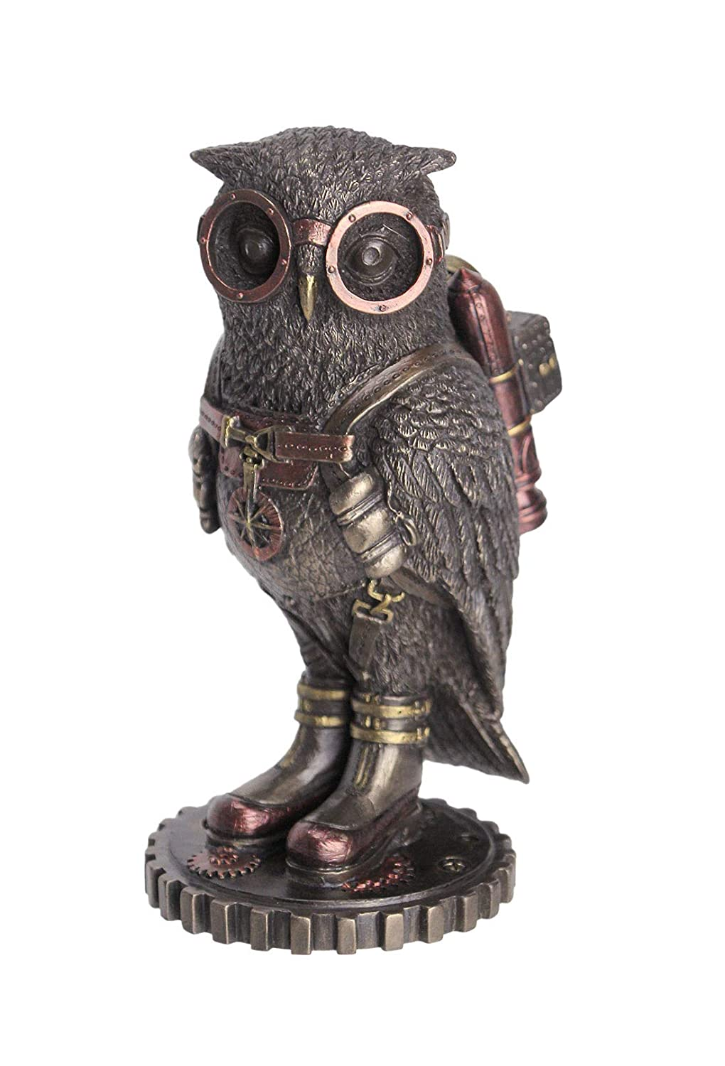 Steampunk Owl with Jetpack Statue On Gears Sculpture Figurine SHIPS IMMEDIATELY