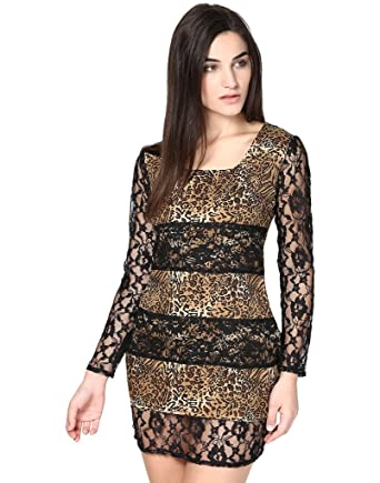 Abiti Bella Womens Tiger Print Bodycon Lace Women Western