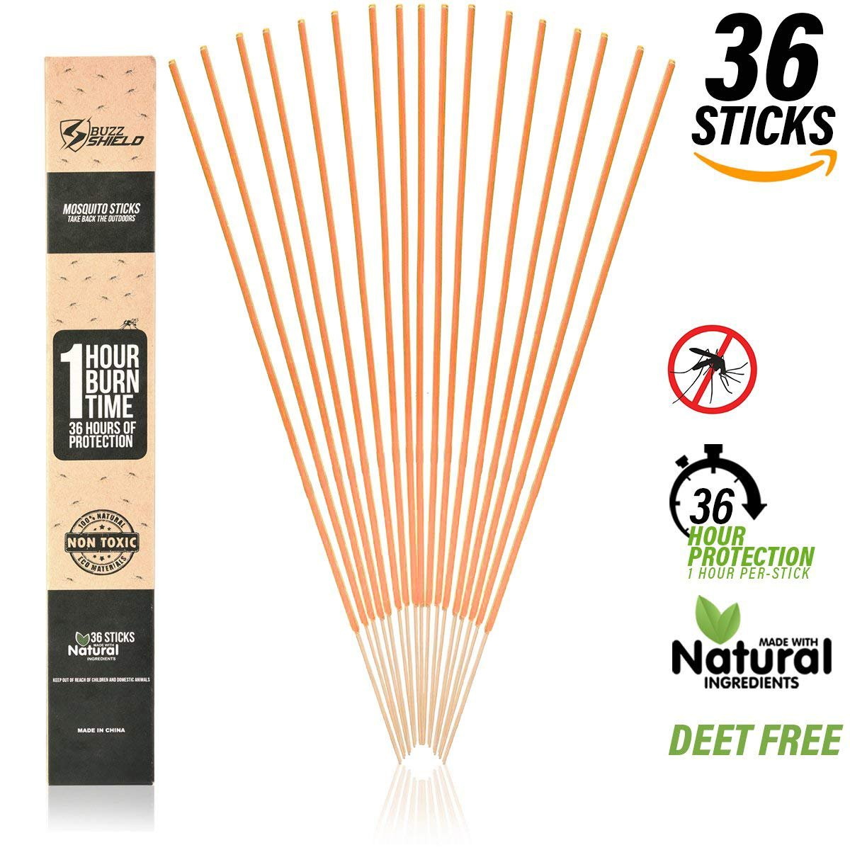 EnvyDeal Mosquito Repellent Sticks Insect Incense Natural DEET Free (36 Pack) Indoor Bamboo Infused with Citronella, Lemongrass and Rosemary Each Stick Burns for 1 1/2 Hours Camping Accessories