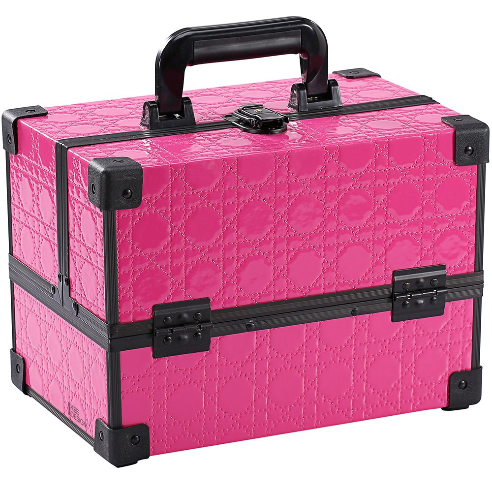 Ikee Design Makeup Train Case – Professional 12 Make Up Artist Organizer Kit Cosmetic Box with Adjustable Dividers 4 Trays, A Top Metal Clasp and Black Aluminum Frame Pink