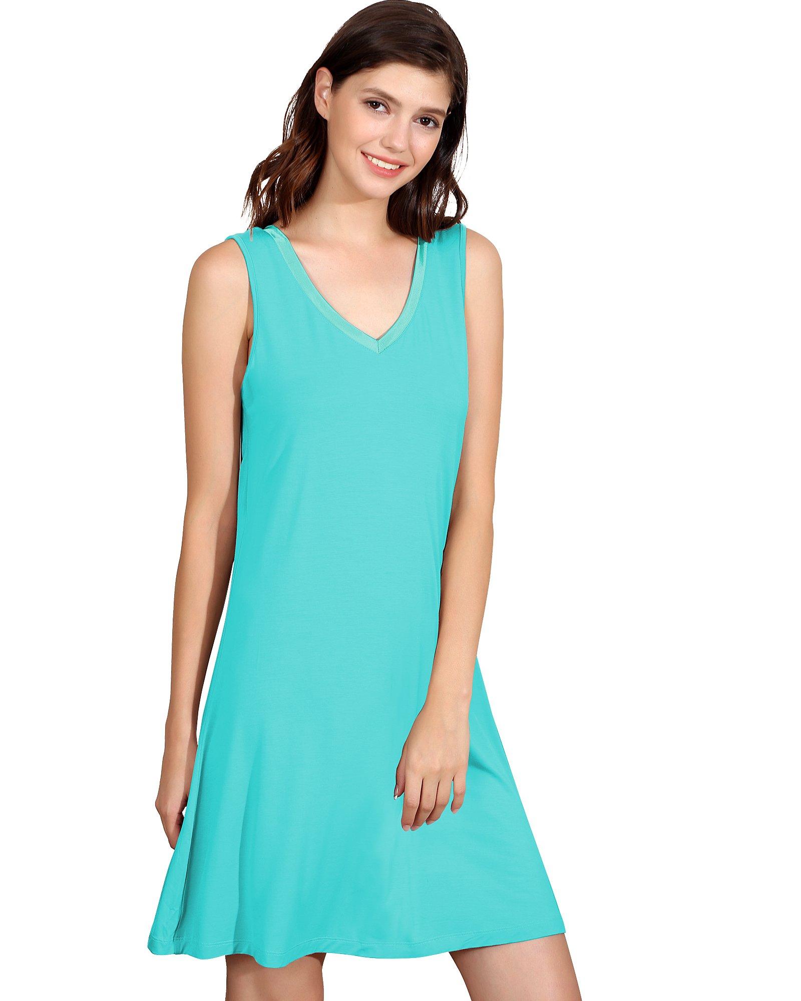 GYS Womens Bamboo Viscose Sleeveless V Neck Nightgown (L, Emerald Green)