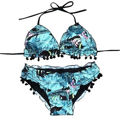 bbd98e38927 DAYLIN Women Wave Edge Streamer Ball Bikini Set Print Swimsuit Push-Up  Tassel Swimwear: Amazon.co.uk: Clothing