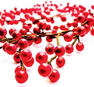 OLYPHAN Holiday Garland Red Berry Garlands Thanksgiving Table Decor, Christmas Fireplace Decoration Banister for Winter Holidays/Artificial Burgundy Berries for Indoor/Outdoor Xmas 6 Feet Long (6Ft)