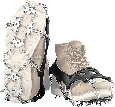 ENKEEO - Crampones de Escalada, 18 Dientes de Acero Inoxidable Antideslizantes, Crampones Cinturón para el Invierno de Caminar, Pescar, Senderismo y ...