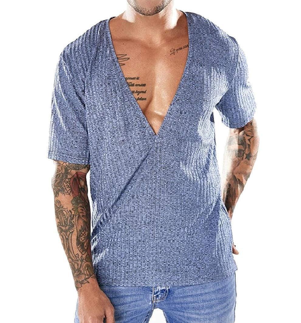 RDHOPE-Men Fashion Short Sleve V-Neck Simple Blouse T-Shirt Tops