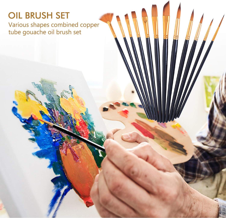 Pinsel Acryl Aquarellpinsel Pinsel K/ünstlerpinsel Aquarell Pinsel Set f/ür Anf/änger Inntek 12 St/ück Pinselset und 5 Spachtel Kinder und Gem/älde Liebhaber K/ünstlerpinsel Set