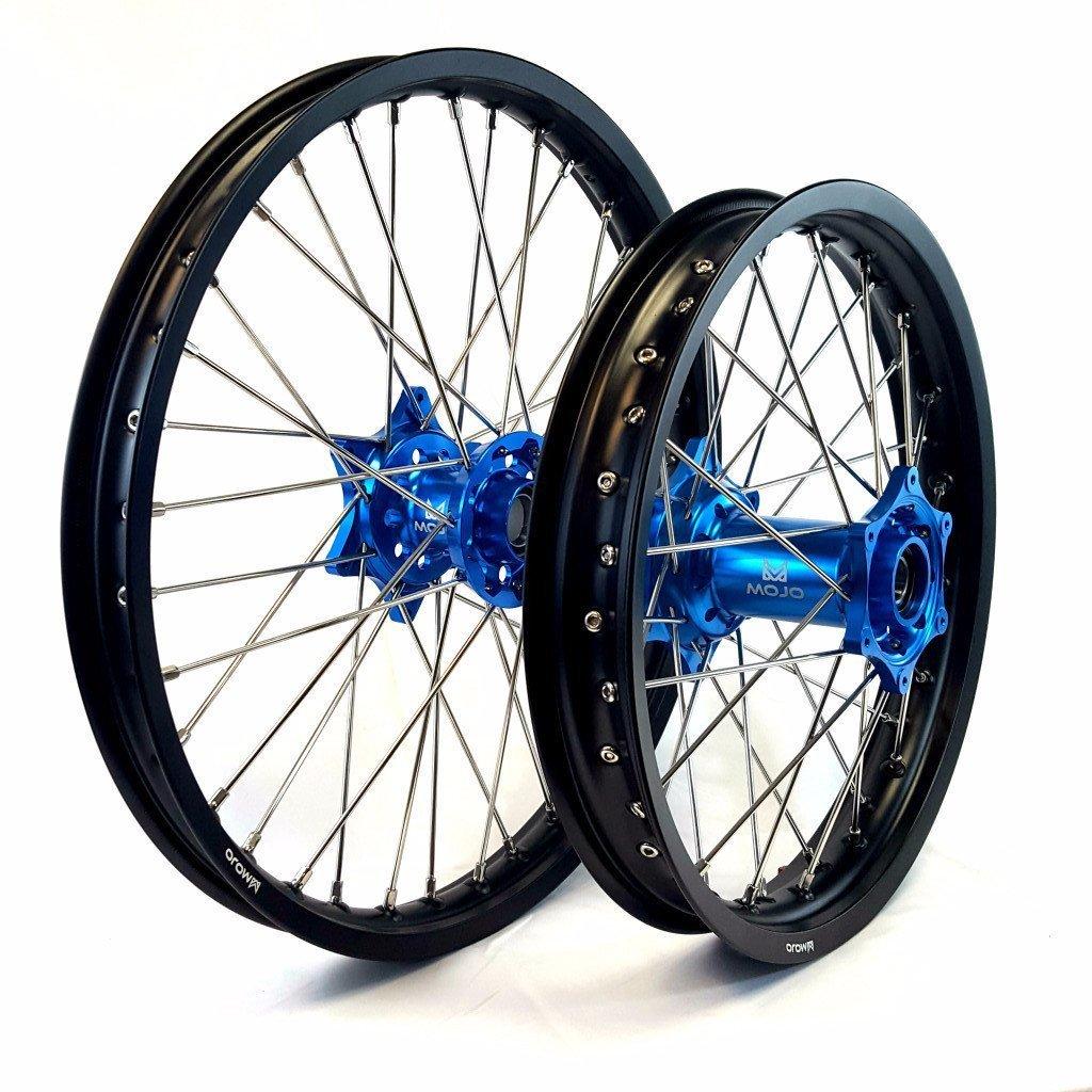 MojoMotoSport - KTM Complete Front/Rear Wheel Set 1.6 x 21 / 2.15 x 18 Black Rim/Silver Spoke/Blue Hub | MOJO-KTM-WS-BLU-2118
