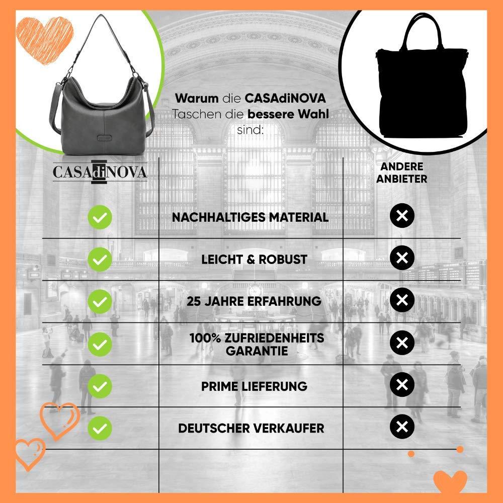 CASAdiNOVA HERBSTANGEBOT – axelväska stor – läderimitation – shopper dam svart – handväska XXL designer axelväska hobo bag stor med justerbara axelremmar GRÅ
