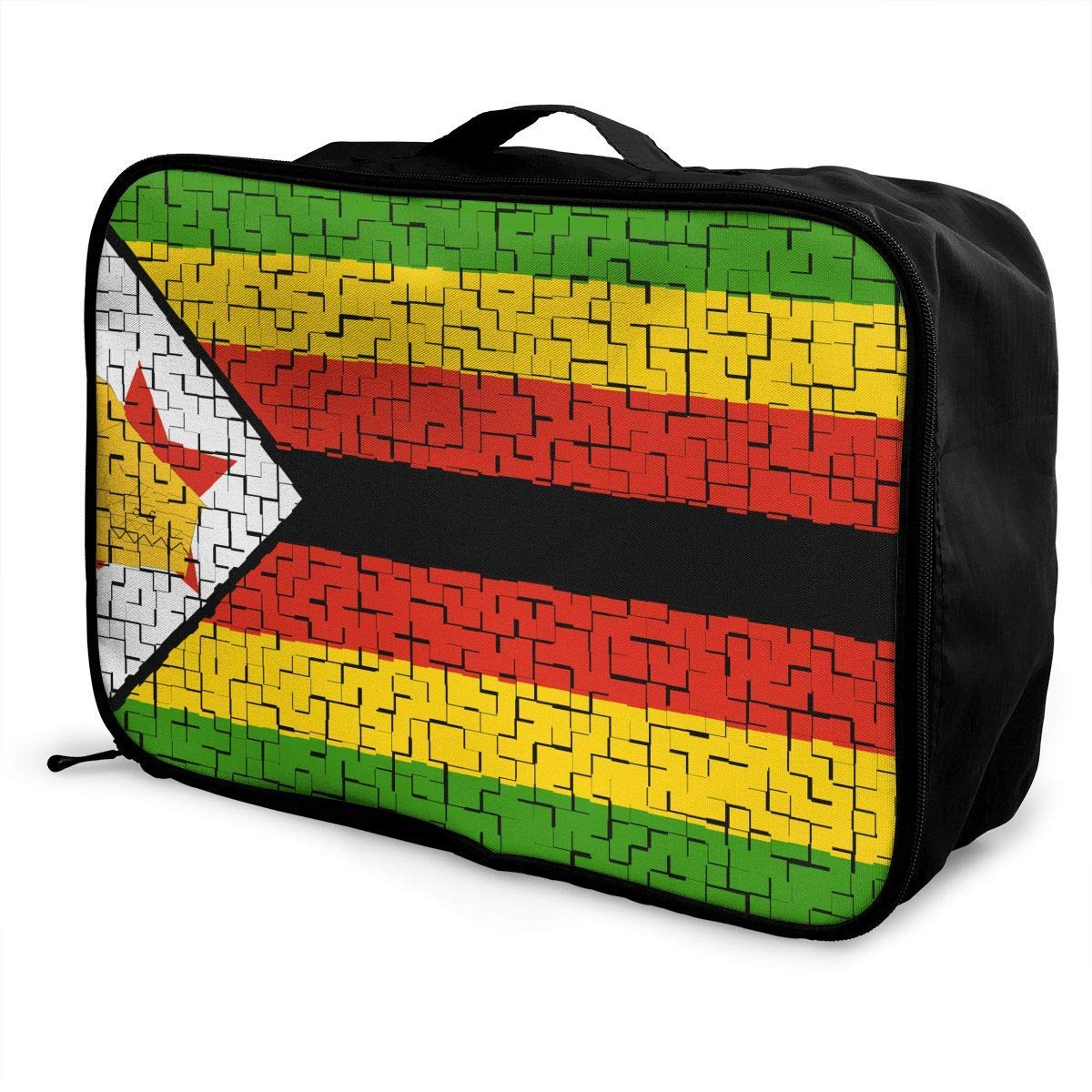 Portable Luggage Duffel Bag Zimbabwe Flag Puzzle Travel Bags Carry-on In Trolley Handle