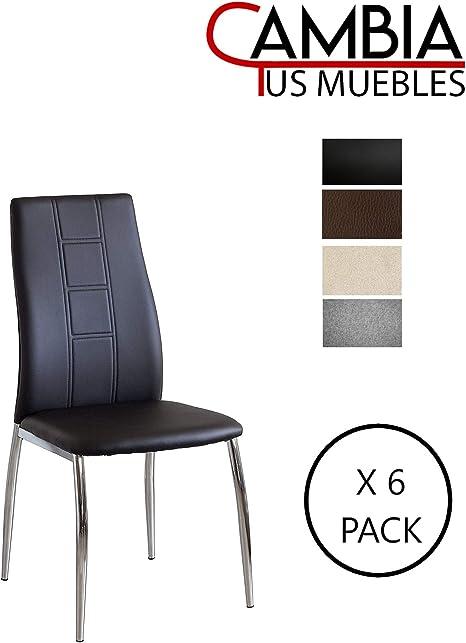 CAMBIA TUS MUEBLES - Pack de 6 sillas Comedor CORFÚ tapizadas en ...
