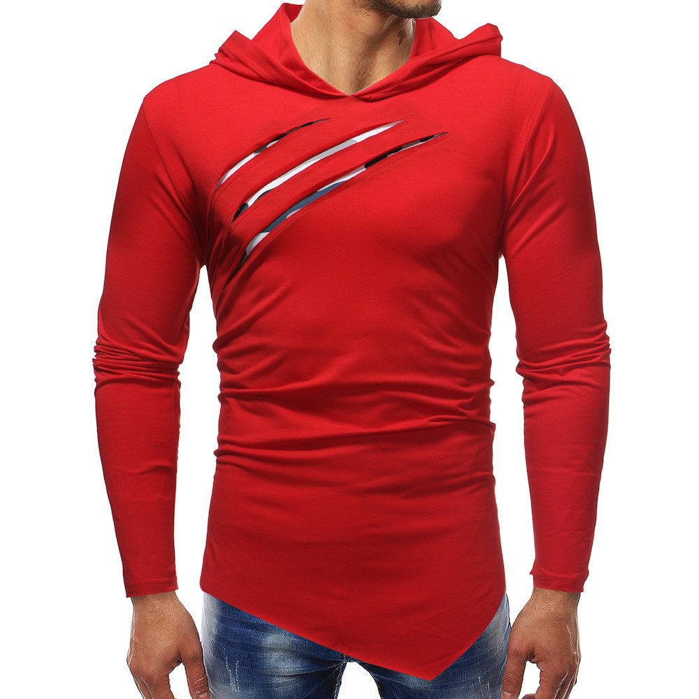 Realdo Mens T-Shirt Clearance Sale, Pure Color Camouflage Riped Hoodie Shirt Top