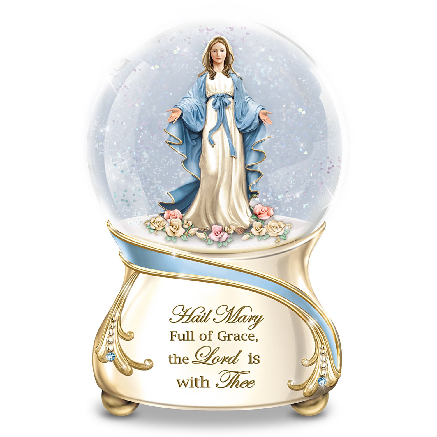The Bradford Exchange Blessed Virgin Mary Musical Glitter Globe with 22K Gold Accents Plays Ave Maria