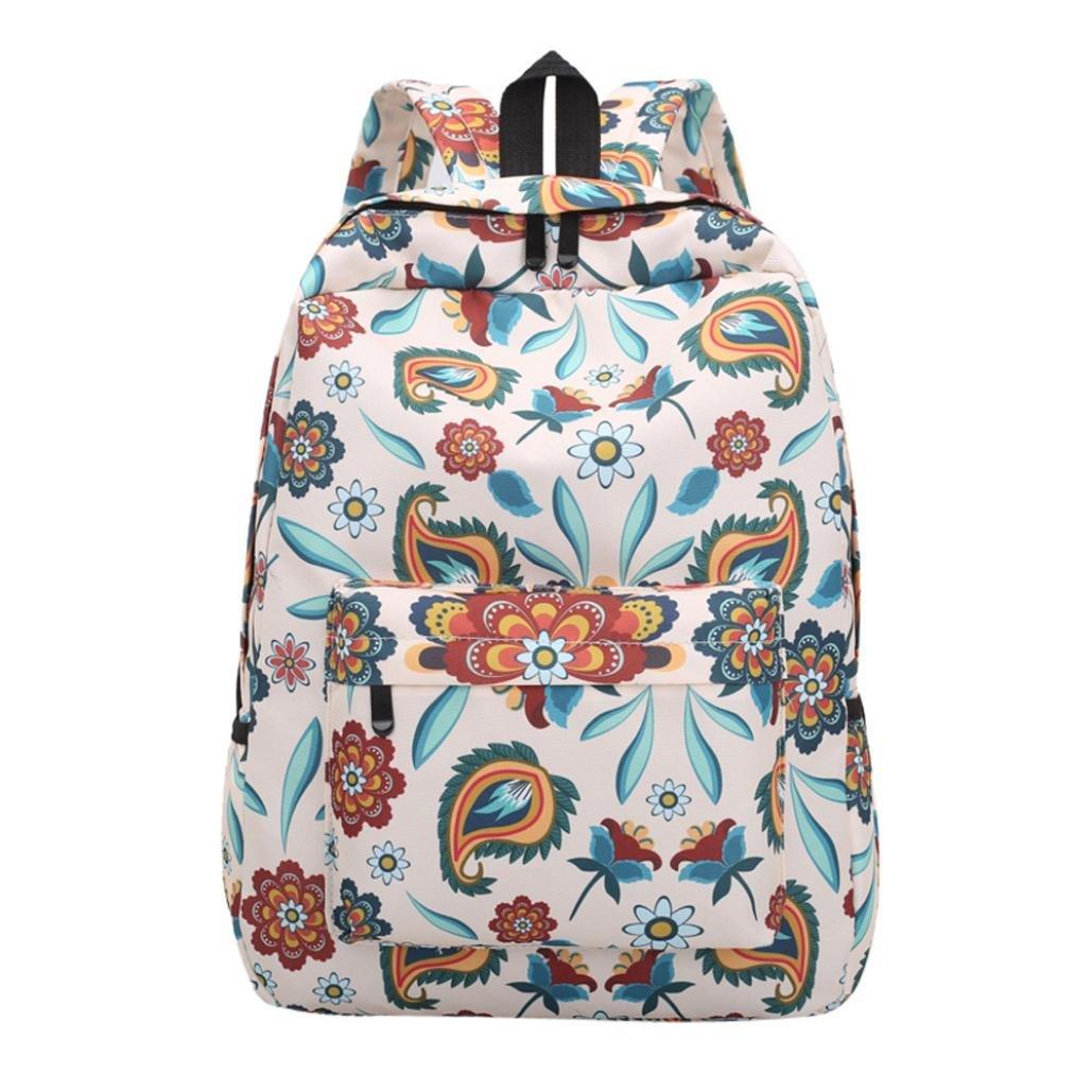 KONFA Floral Backpack for Women,Teen Girls Drawstring Nylon Bookbags Travel/School Bag (C)