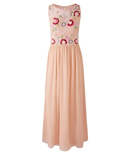 dc689e6ce8a Simply Be Womens Embroidered Maxi Dress Nude
