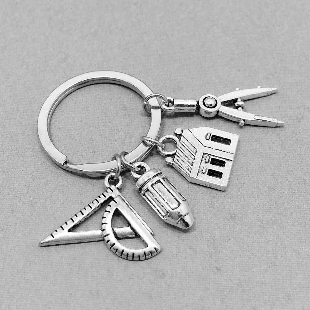 Amosfun Llavero de Metal Gadgets delicados Regla de casa L/ápiz Colgante Llavero Regalos de graduaci/ón para el d/ía del Padre
