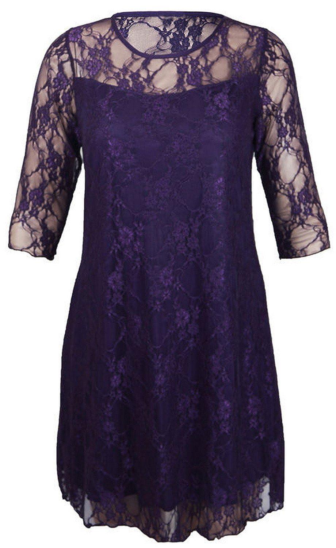 New Ladies Gorgeous Fine Lace Floral 3/4 Sleeve Party Dresses