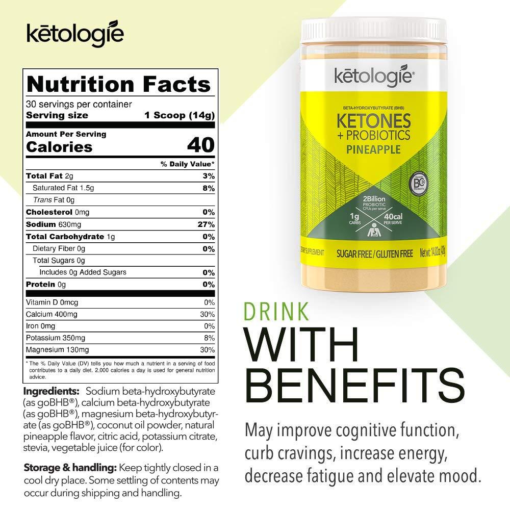 Ketologie Exogenous Ketones Probiotics Beta Hydroxybutyrate BHB Salt Powder for Keto Diet May Increase Energy, Focus Fat Burn 30 Servings Pineapple