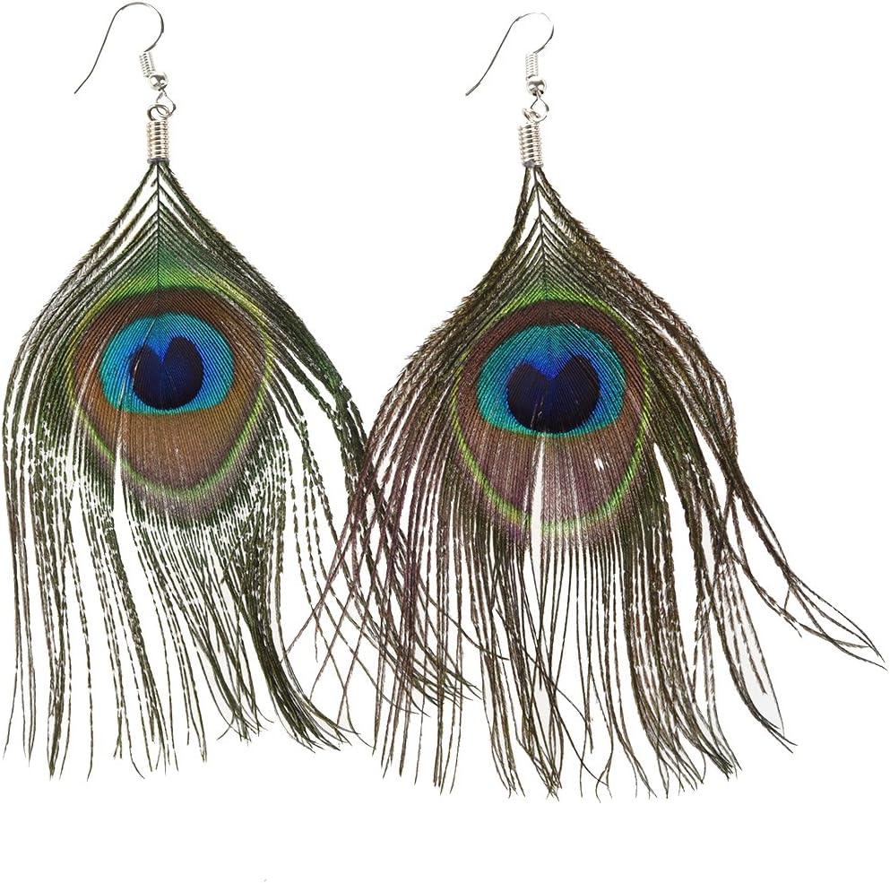 SODIAL(R) Aretes de gota de pluma de pavo real natural larga de diamante de imitacion estilo bohemio de moda para mujer
