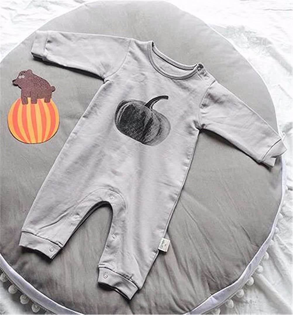 Gray Baby Boys Girls Long Sleeve Pumpkin Pattern Bottoming Romper Baby Jumpsuit Size 6-9 Months//Tag73