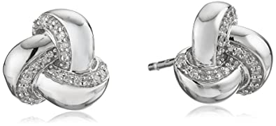 abc62dafbcf48 Jewelili Sterling Silver Diamond Knot Earrings (1/10 cttw) - NEW