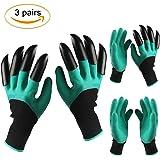 Garden Genie Gloves with Claws, Mozaci Waterproof Work Gardening Gloves for Digging Planting 3 Pair