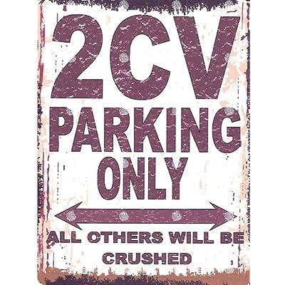 2 CV de parking Sign Petite 15 x 20 cm rétro Boîte Style vintage Décoration murale Abri Atelier Garage classique voitures Citroën Cuisine & Maison