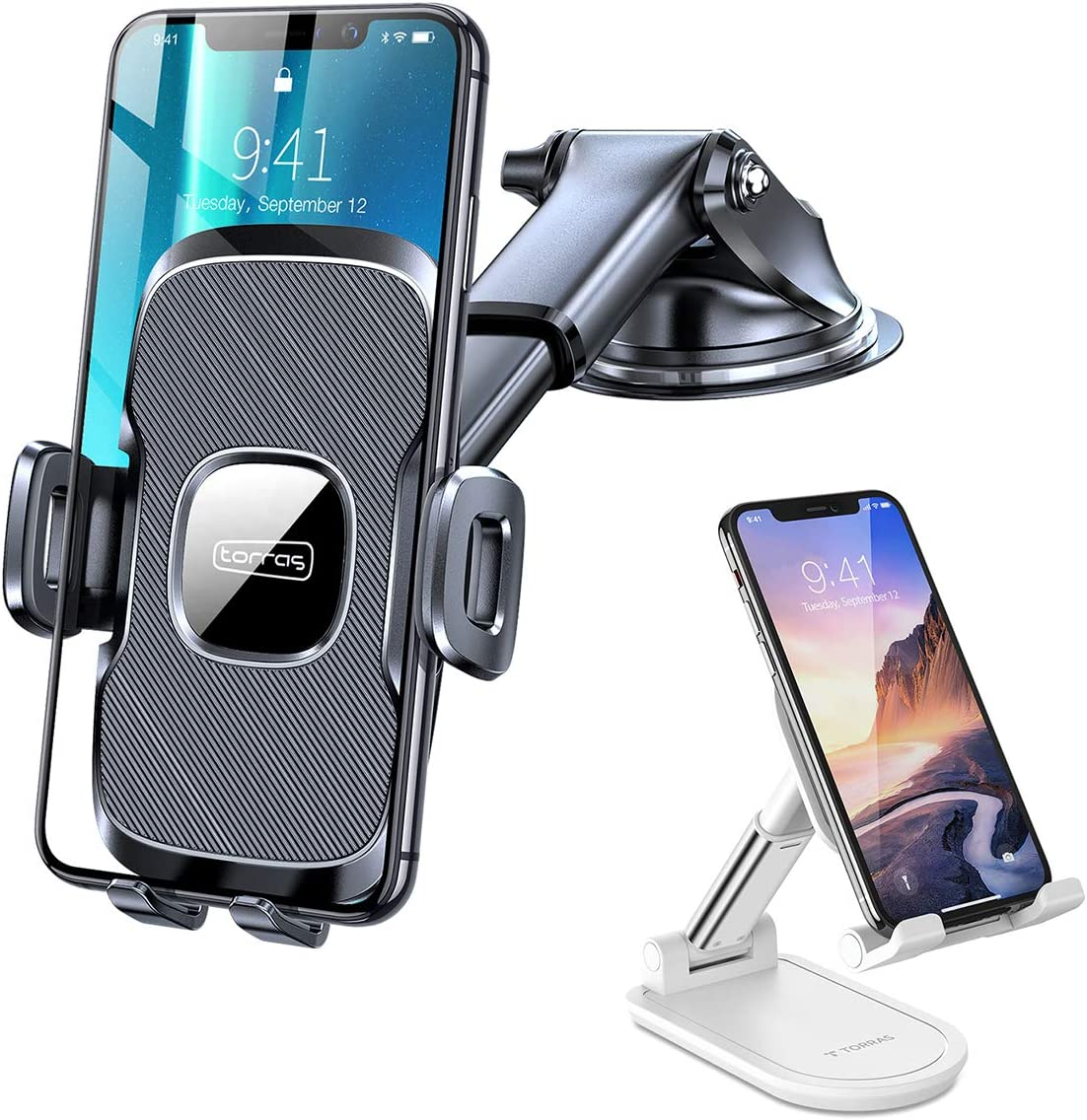 TORRAS Ultra-Durable Cell Phone Holder + Foldable Cell Phone Stand for Desk for Home/Office Compatible with iPhone 11 pro max xr x 8 Samsung Galaxy Note 20 Ultra 10 Plus S20
