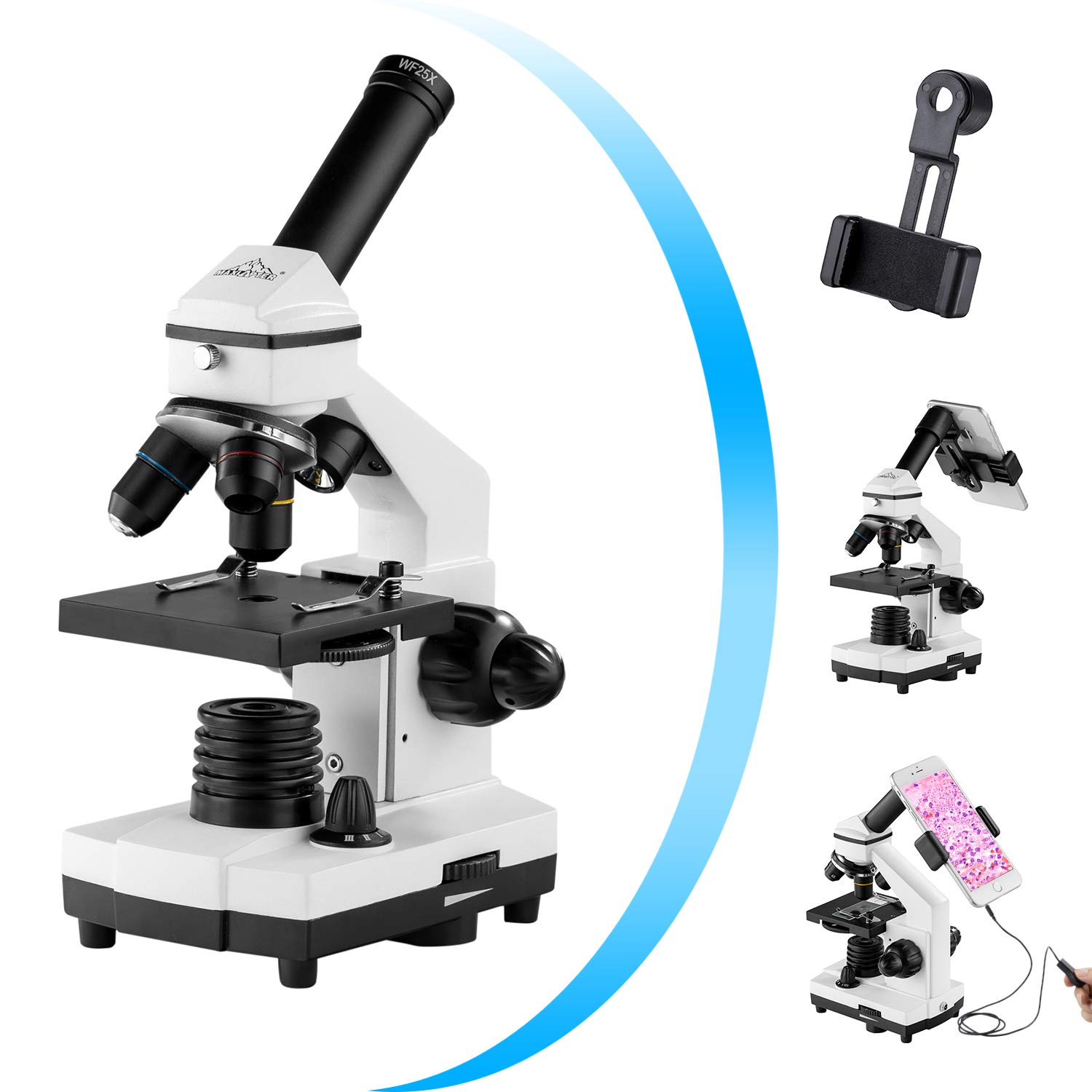 Monocular Microscope for Kids, 200x-2000x Magnification Biological School Students Microscope with Slides Set,Phone Adapter,Wire Shutter, Carrying Bag MAXLAPTER