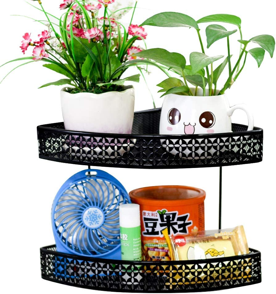Exttlliy Metal Hanging Office Cubicle Corner Rack Space-Saving Floating Shelf Plant Caddy for Desk Sundries (Black, Double Layer)