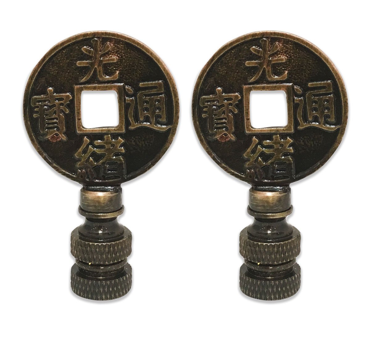 Royal Designs Asian Symbols Lamp Finial for Lamp Shade- Antique Brass Set of 2