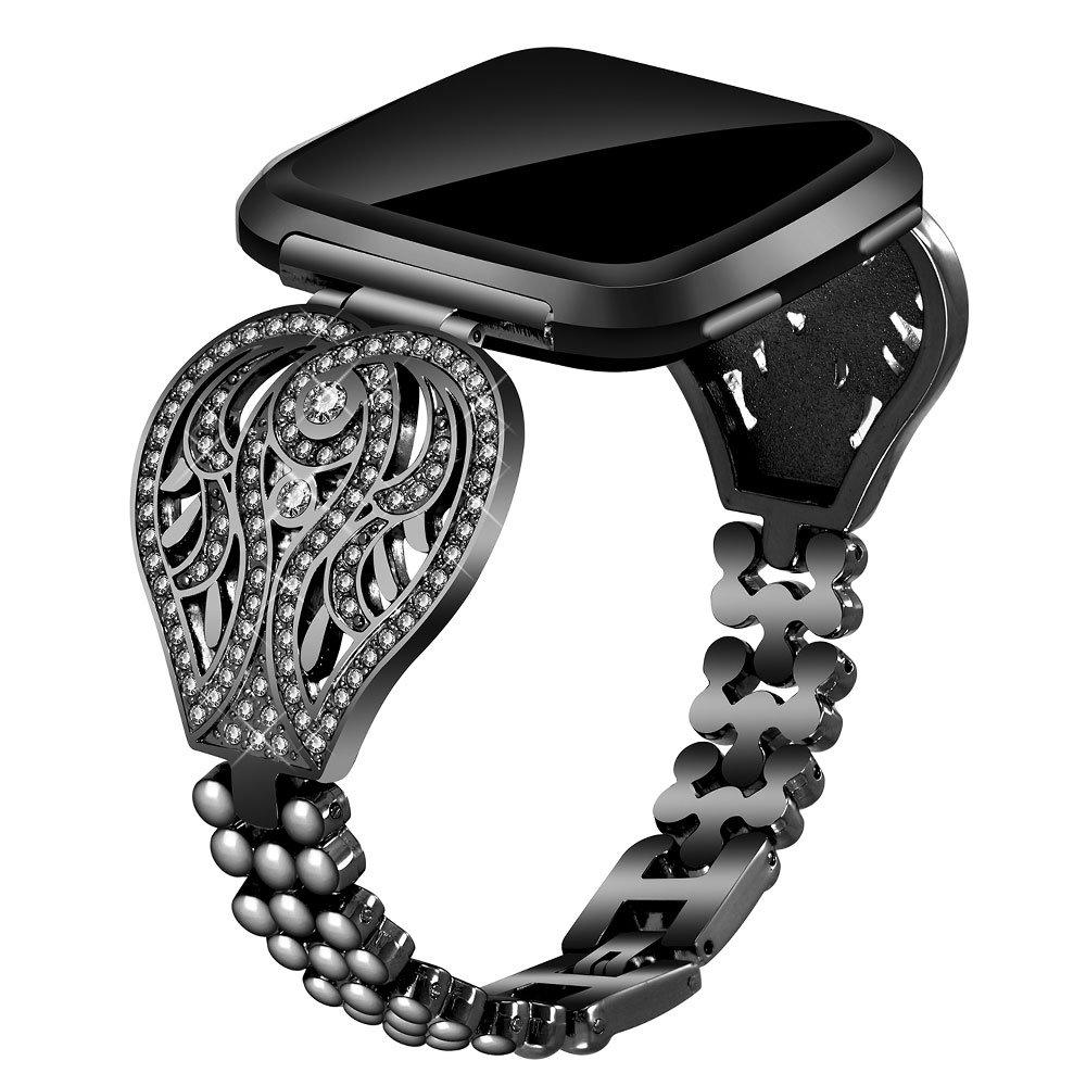 Voma for Fitbit VersaバンドレディースメンズスモールLarge ,ステンレススチール交換用メタルストラップブレスレット調節可能なWristbands for Fitbit Versa Smartwatch B07C7C18J1 Beauty, Black Beauty, Black