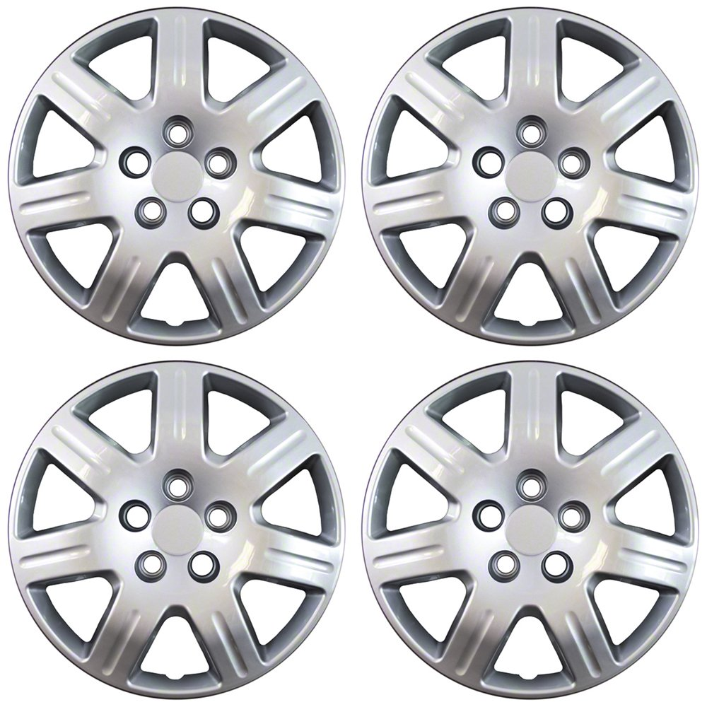 OxGord Hubcaps for TOYOTA (Pack of 4) Wheel Covers - 16 inch, Snap On, Silver