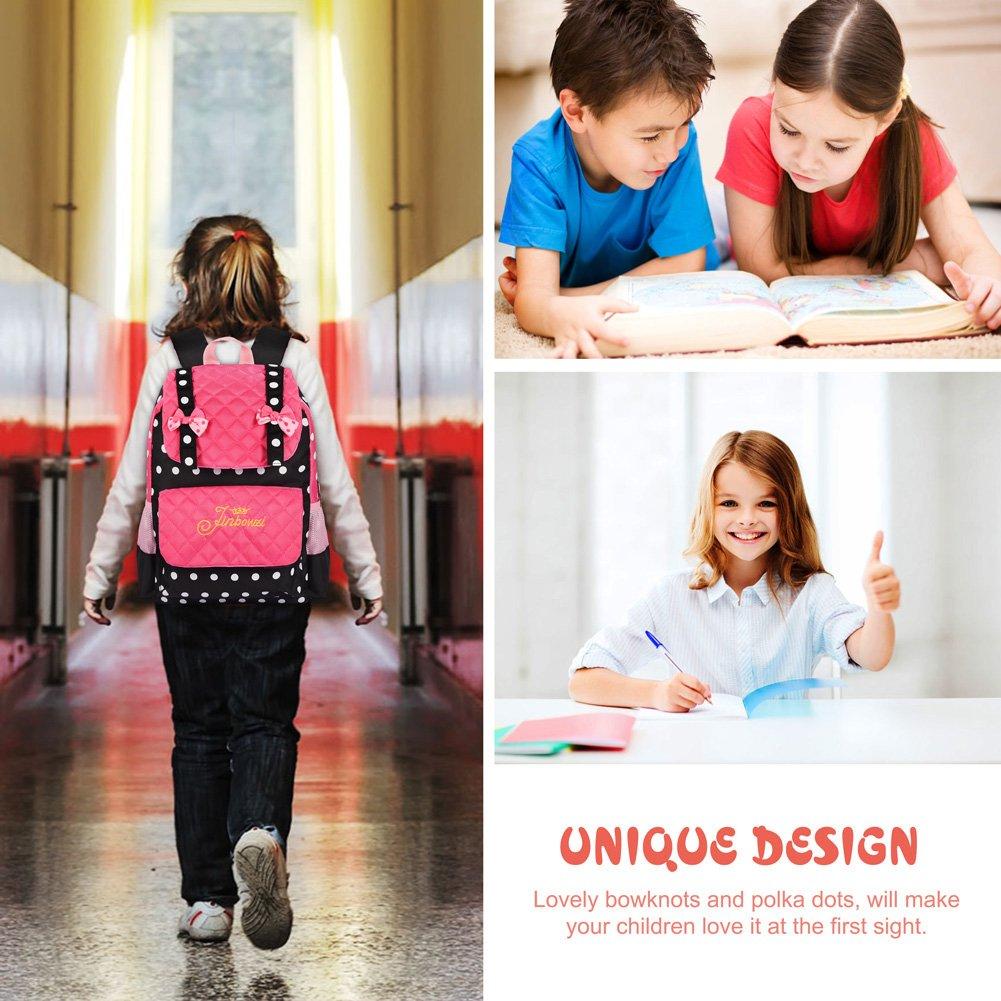Vbiger Kinderrucksack Rucksack Kinder Kindergartenrucksack Rucksack für Mädchen 3-7 Jahren (Schwarz+rosa)