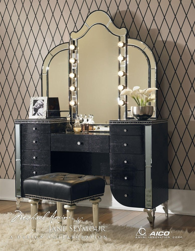 vanity set with stool and lighted mirror. Amazon com  Aico Hollywood Swank Vanity with Bench Set 3 Piece in Black Iguana by Michael Amini Home Kitchen