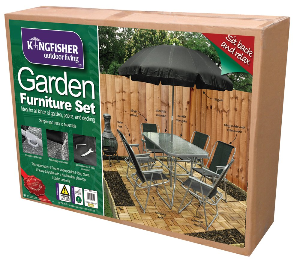 6 Person Garden Furniture Patio Set Table, 6 Chairs U0026 Parasol:  Amazon.co.uk: Garden U0026 Outdoors