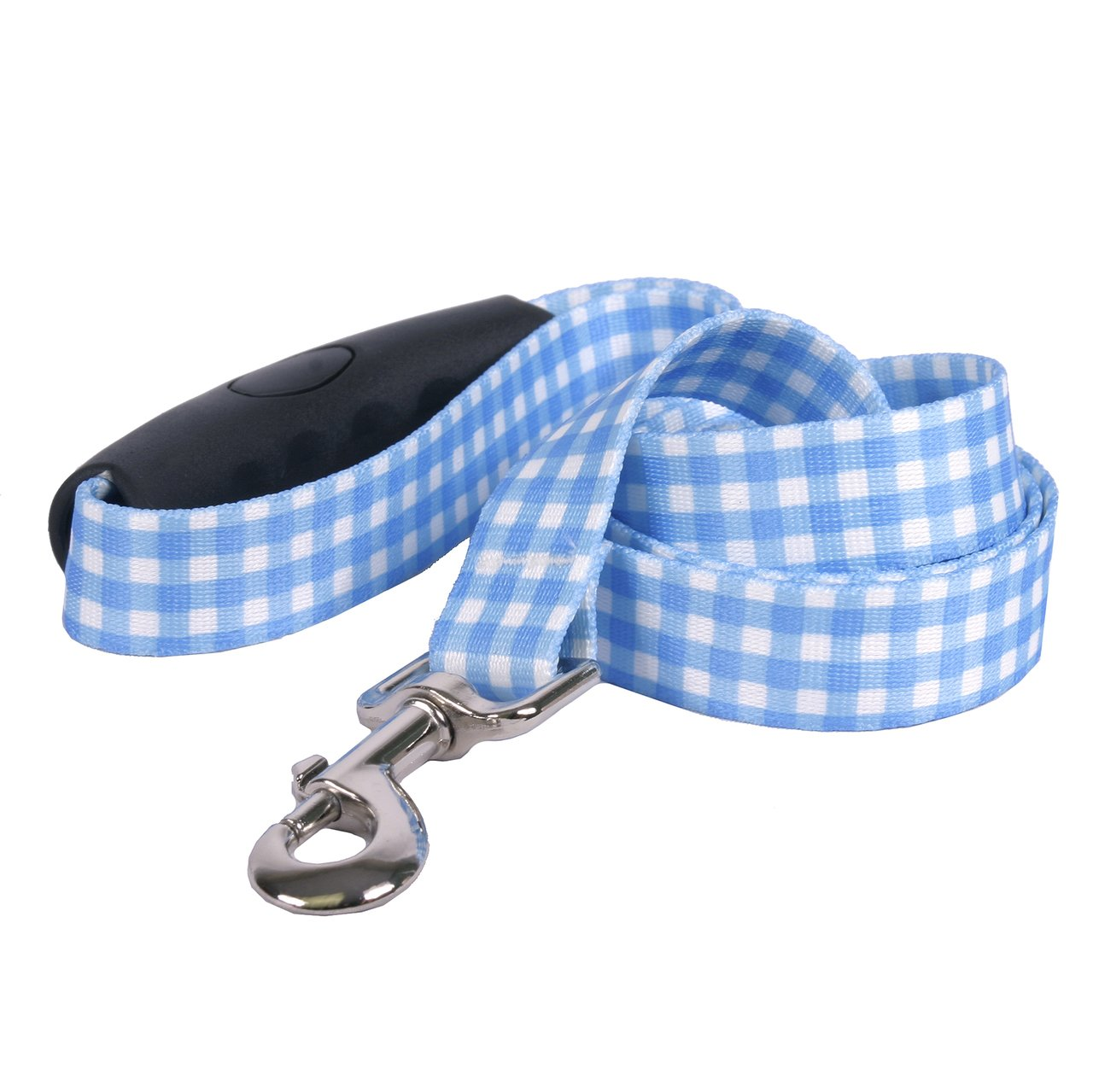 3 4\ Southern Dawg Gingham bluee Dog Leash with Comfort Grip Handle-Medium-3 4  and 5' (60 ) Made in the USA by Yellow Dog Design