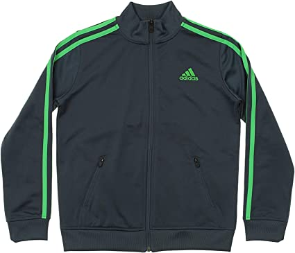 Adidas Youth Fleece Lined Track Jacket Grey Lime
