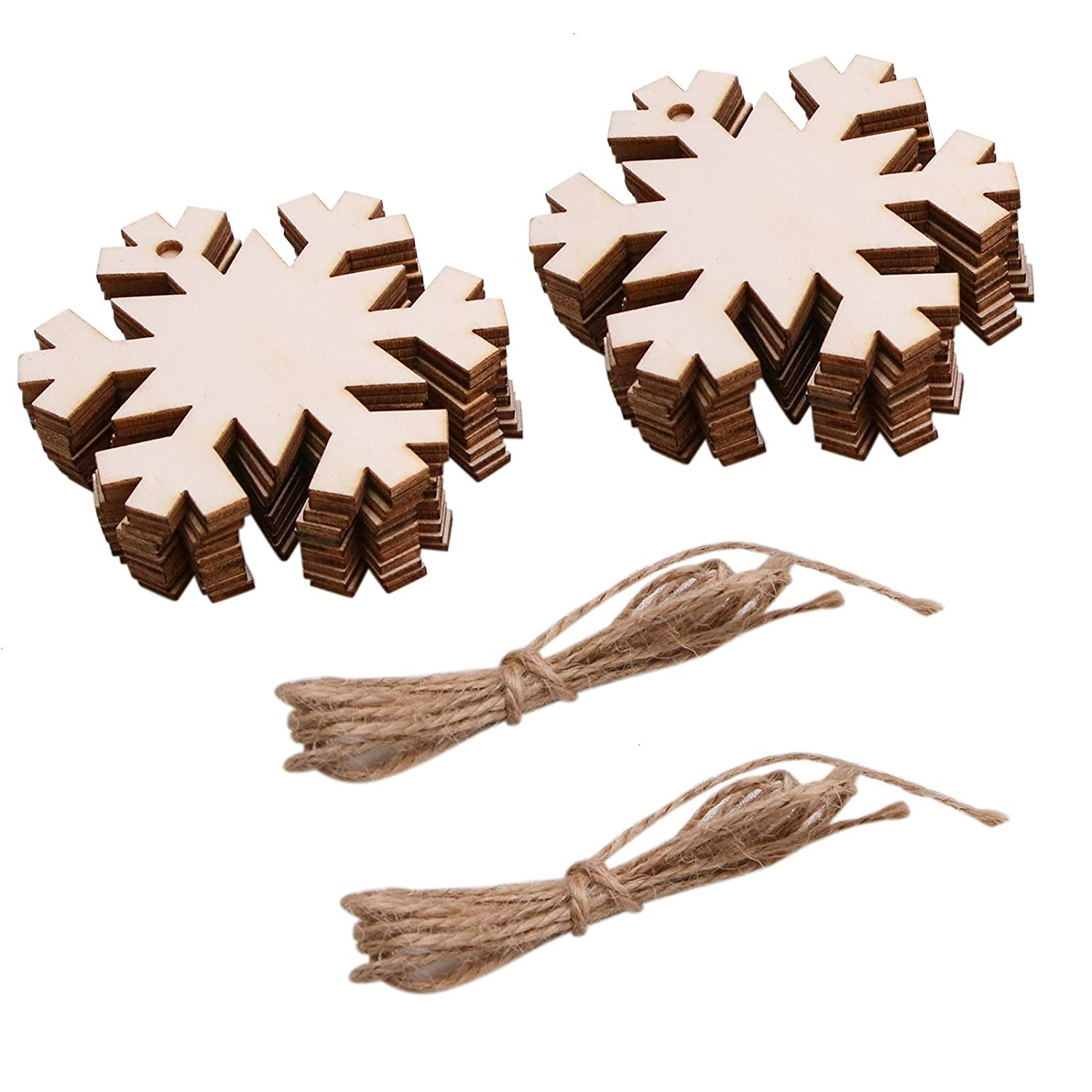 WSSROGY 20 Pieces Wooden Snowflake Christmas Tree Ornaments Hanging with Crafts Twines for Christmas Tree Pendant Ornaments